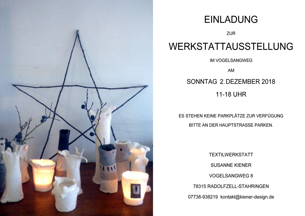 Einladung Werkstattausstellung 2018
